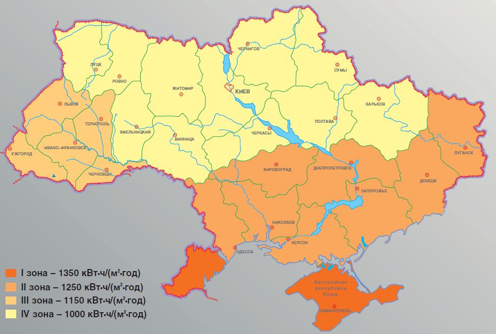 Количество солнечной инсоляции в регионах Украины