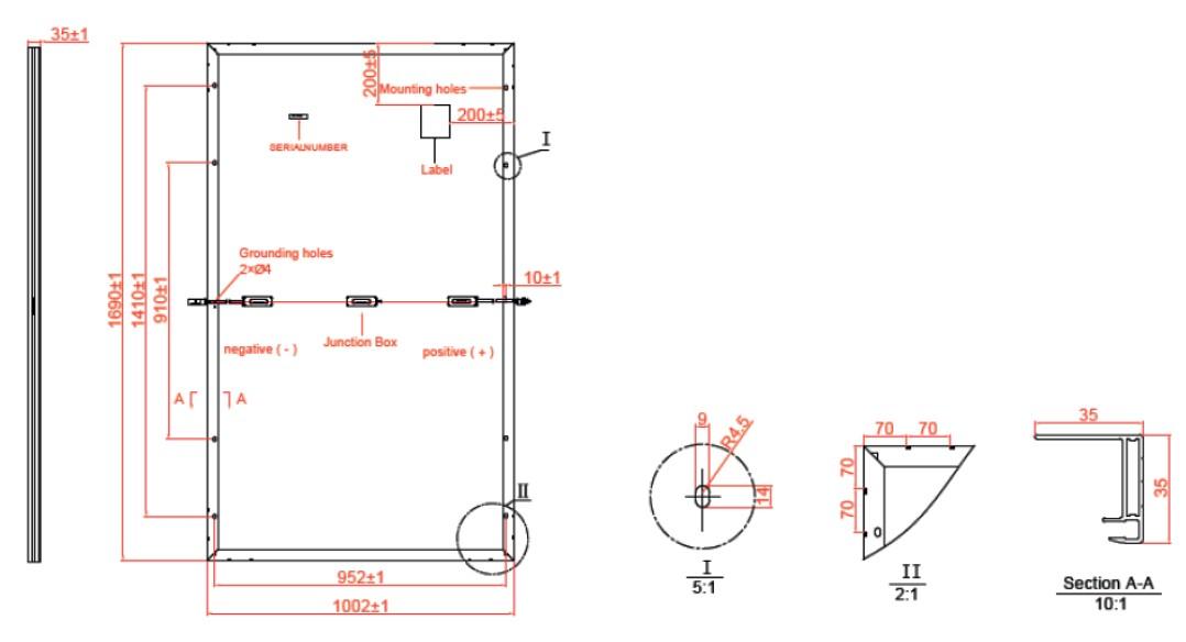 Размеры панели ABISolar 330 MHC