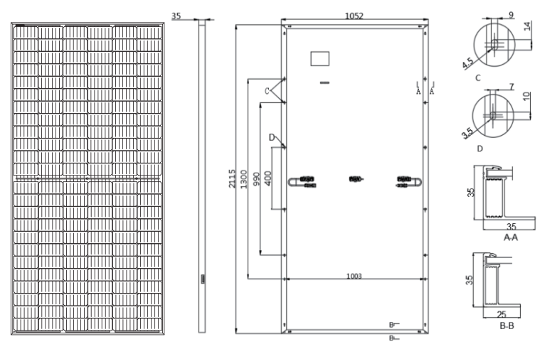 Longi Solar LR4 - 72 hph размеры