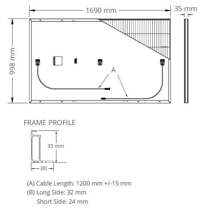 Размер панели SunPower SPR-P3 315-335
