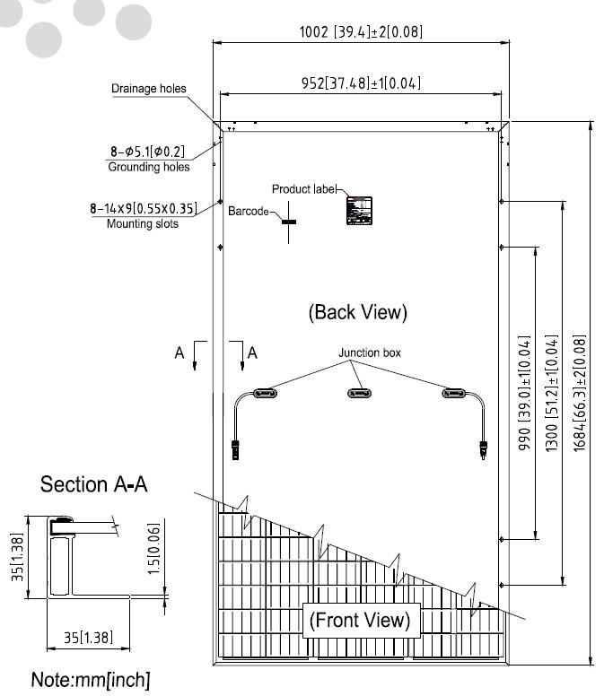 Размеры панели Suntach 300-60Wfh