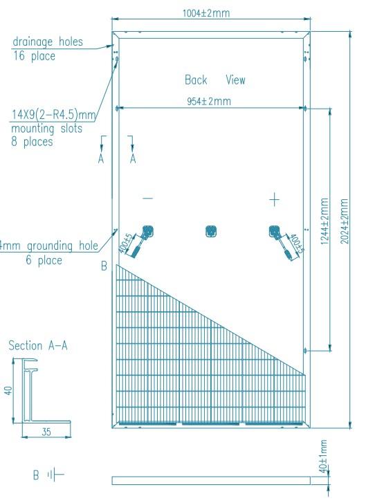Размеры панели Ulica Solar 415M 144