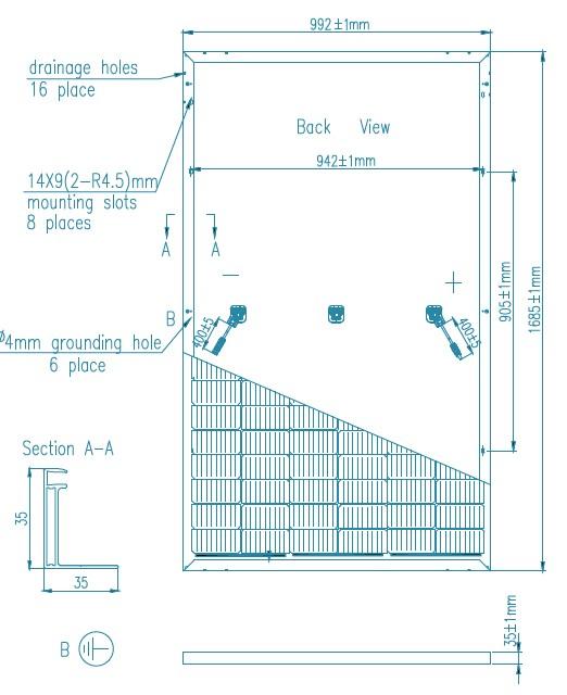 Размеры панели UL335M120HC