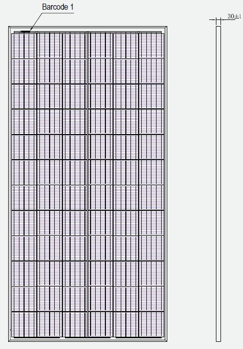 Размеры PV module ZXP6-LD72
