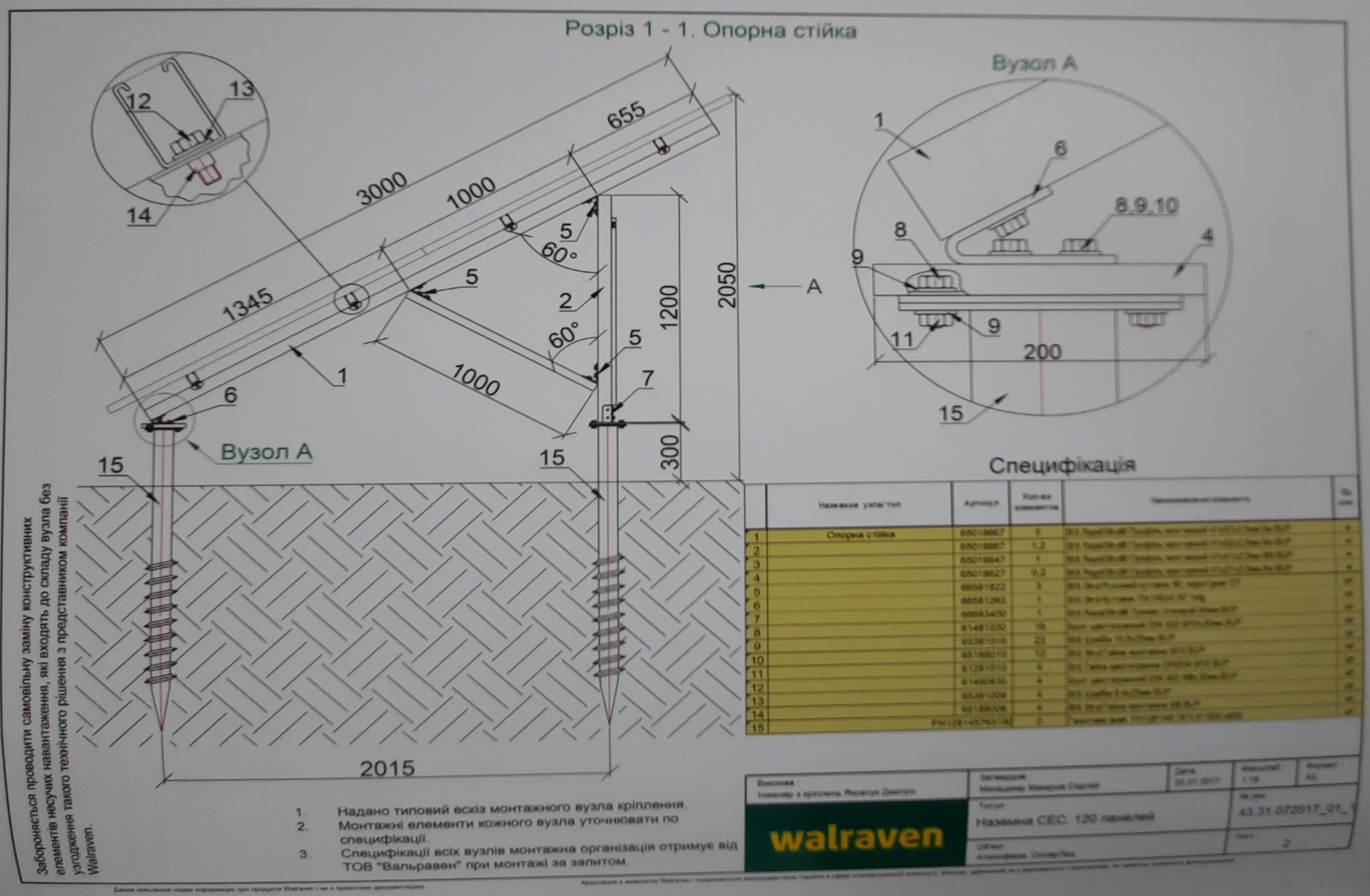 наземные солнечные станции - использование креплений Walraven с геошурупами