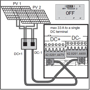 Подключение нескольких взаимосвязанных полей солнечного модуля к инвертору с несколькими средствами отслеживания.MPP